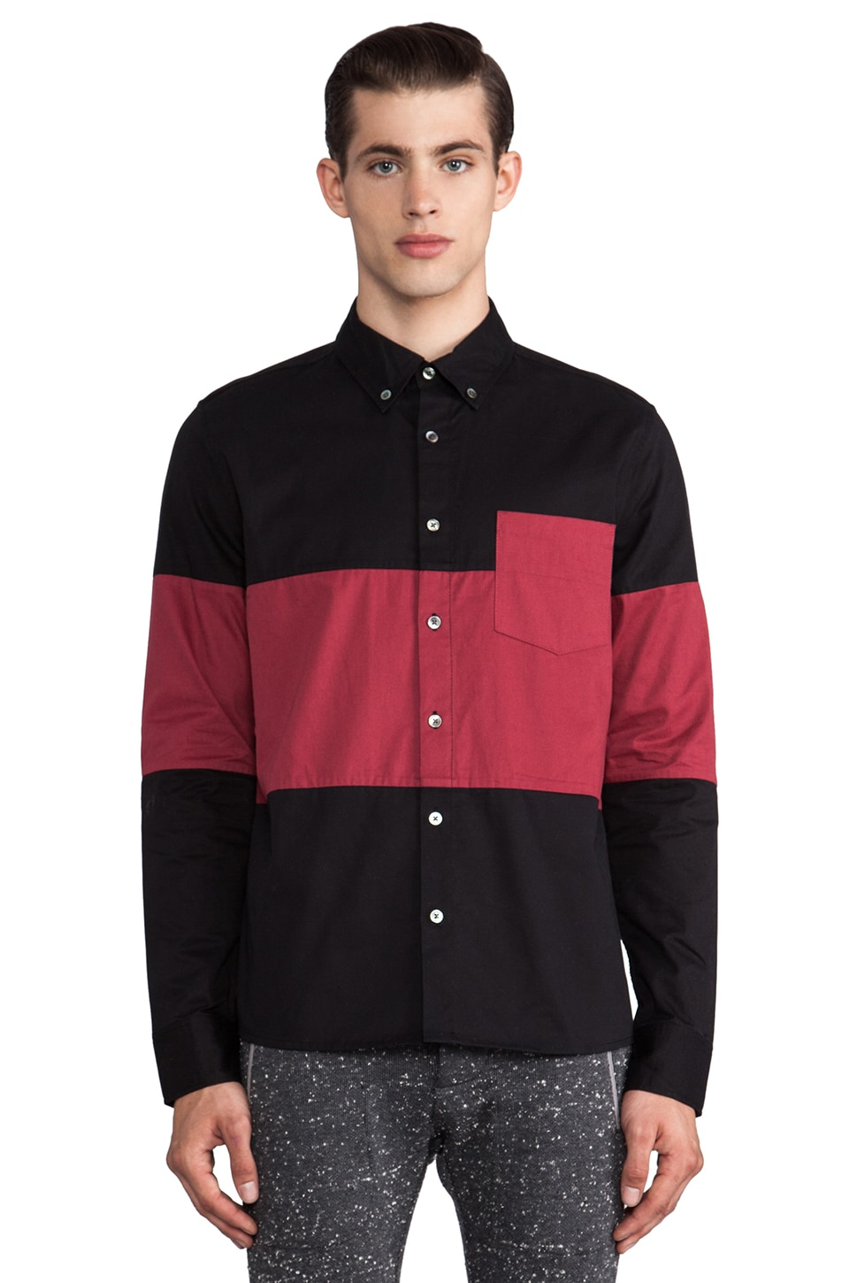 TIMO WEILAND Danlly Stripe Button Down in Black/Red