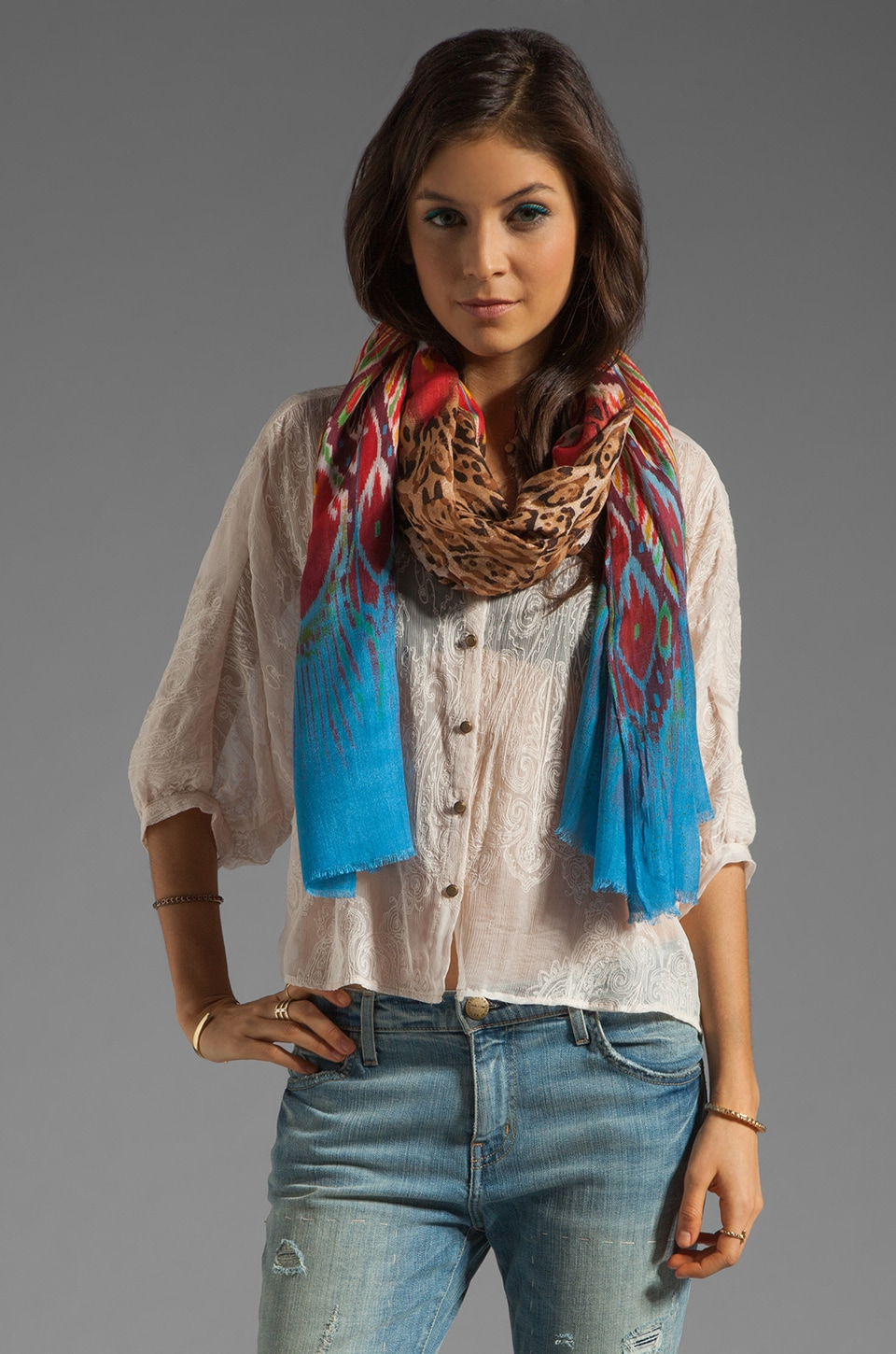 Twelfth Street By Cynthia Vincent Ombre Leopard Scarf in Blue Ombre