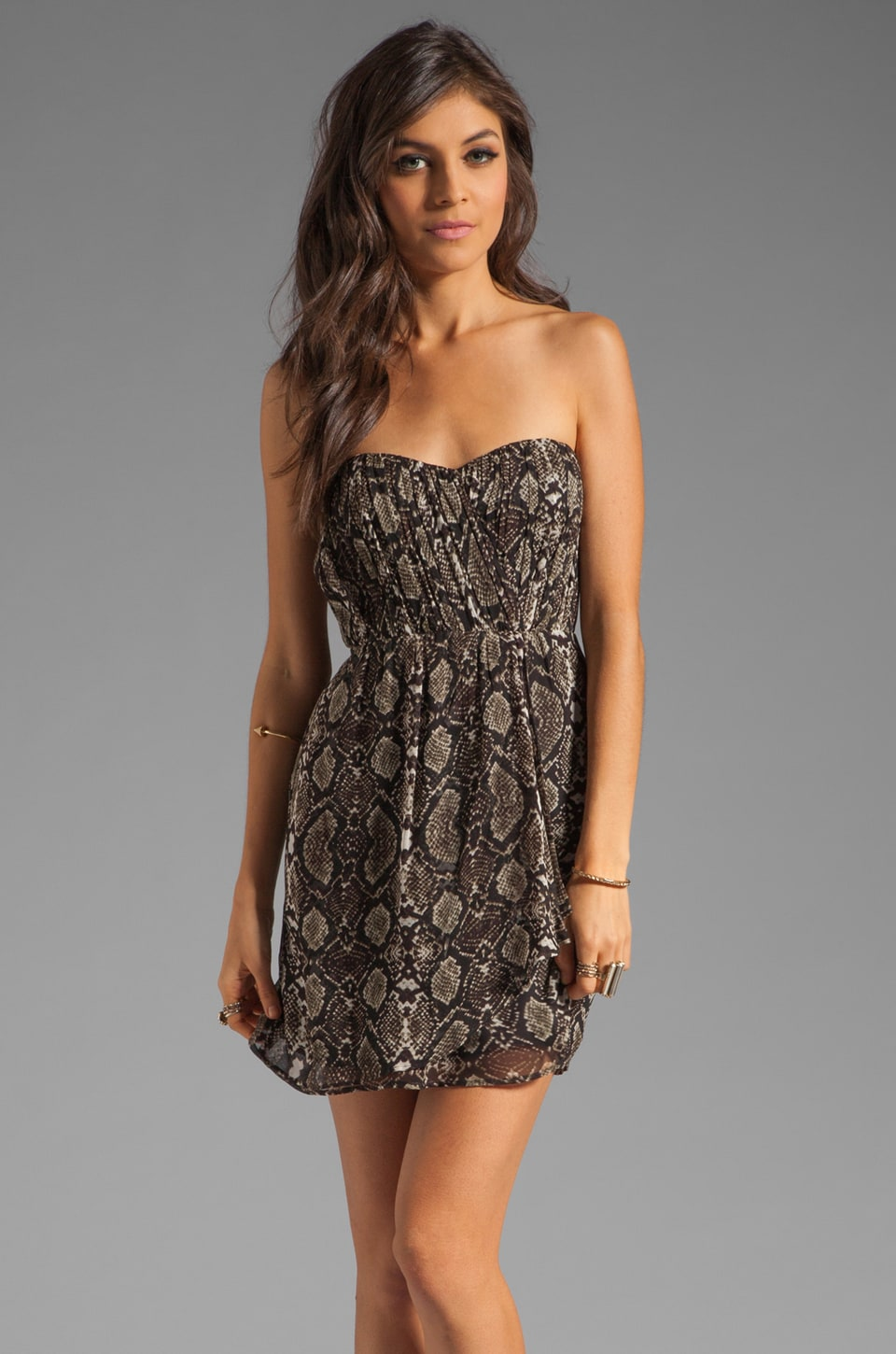 Twelfth Street By Cynthia Vincent Verona Strapless Party Dress in Vintage Snake Print