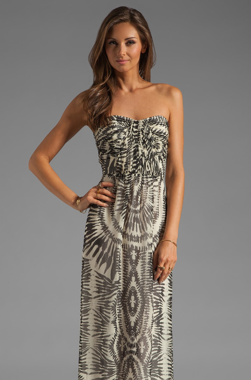 Twelfth Street By Cynthia Vincent Bermudian Draped Bodice Maxi Dress in Zebra Tie Dye