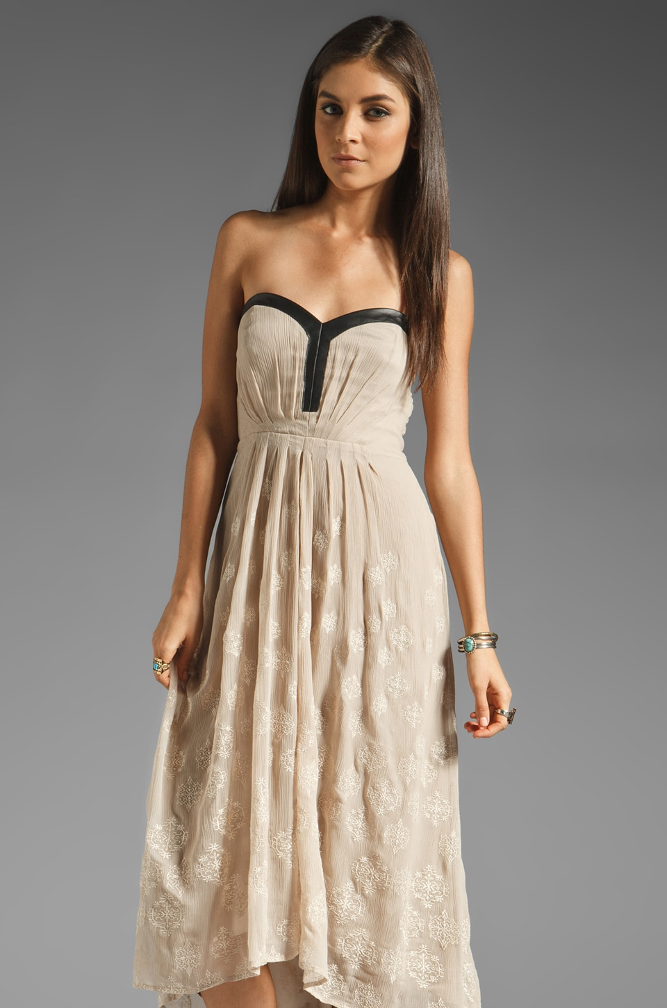 Twelfth Street By Cynthia Vincent Rancho Dolores Leather Trim Embroidered Maxi in Taupe