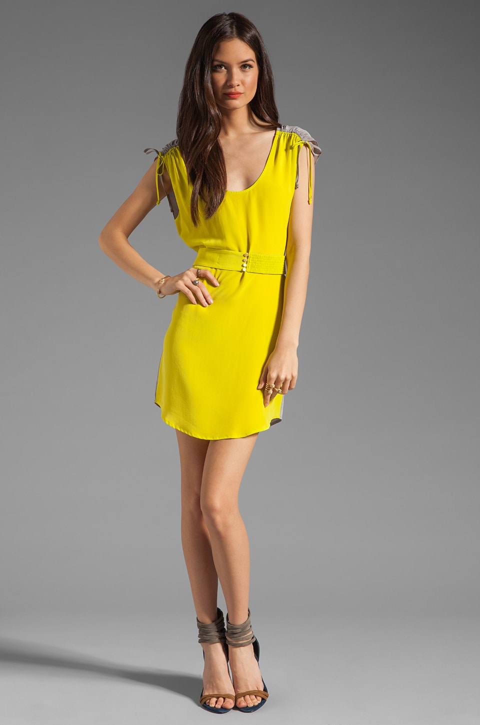 Twelfth Street By Cynthia Vincent Ashka Draw String Shift Dress in Citron with Grey Back