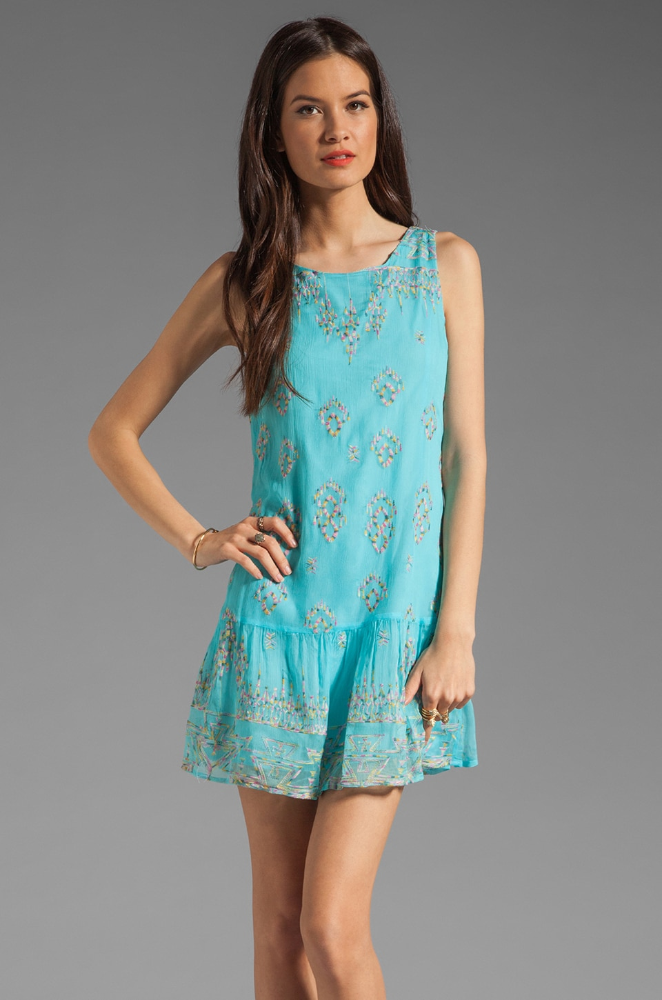 Twelfth Street By Cynthia Vincent Bursa Sleeveless Shift Dress in Turquoise