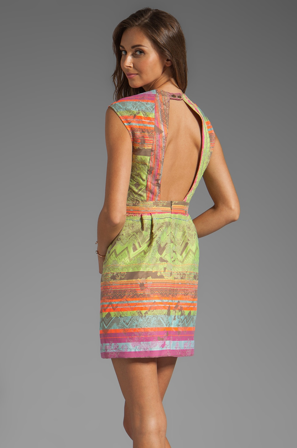 Twelfth Street By Cynthia Vincent Conch Backless Dress in Neon Jacquard