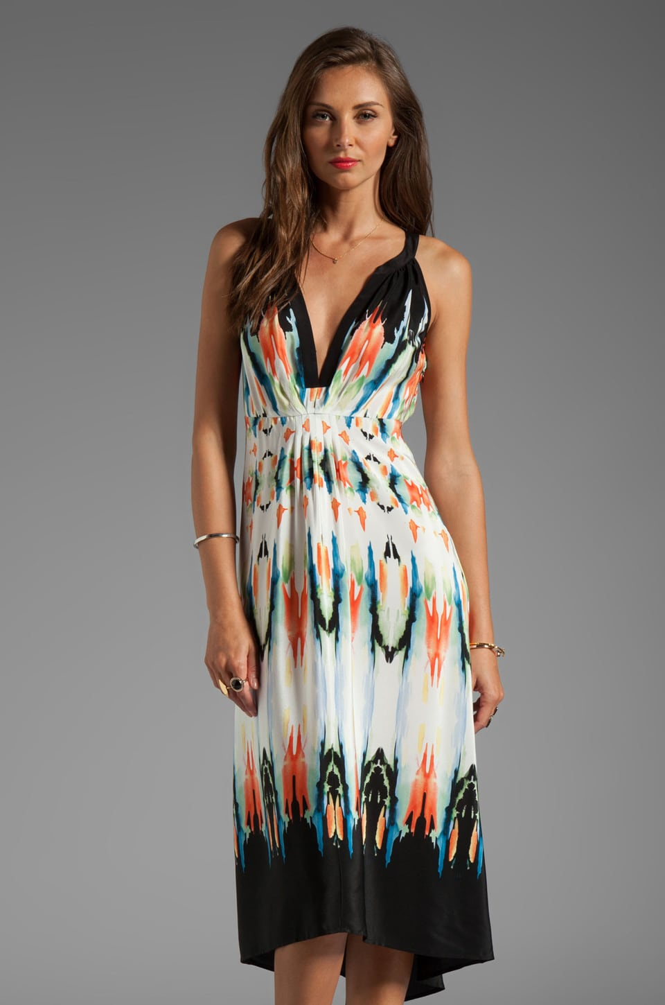 Twelfth Street By Cynthia Vincent Palma Hi/Low Maxi Dress in Watercolor Border