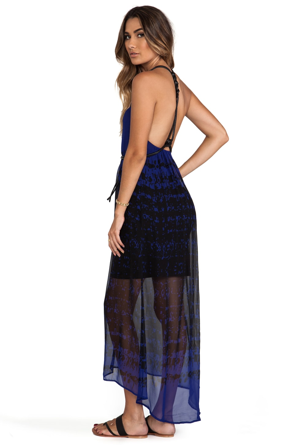 Twelfth Street By Cynthia Vincent Page Leather Knotted High-Low Dress in Cobalt