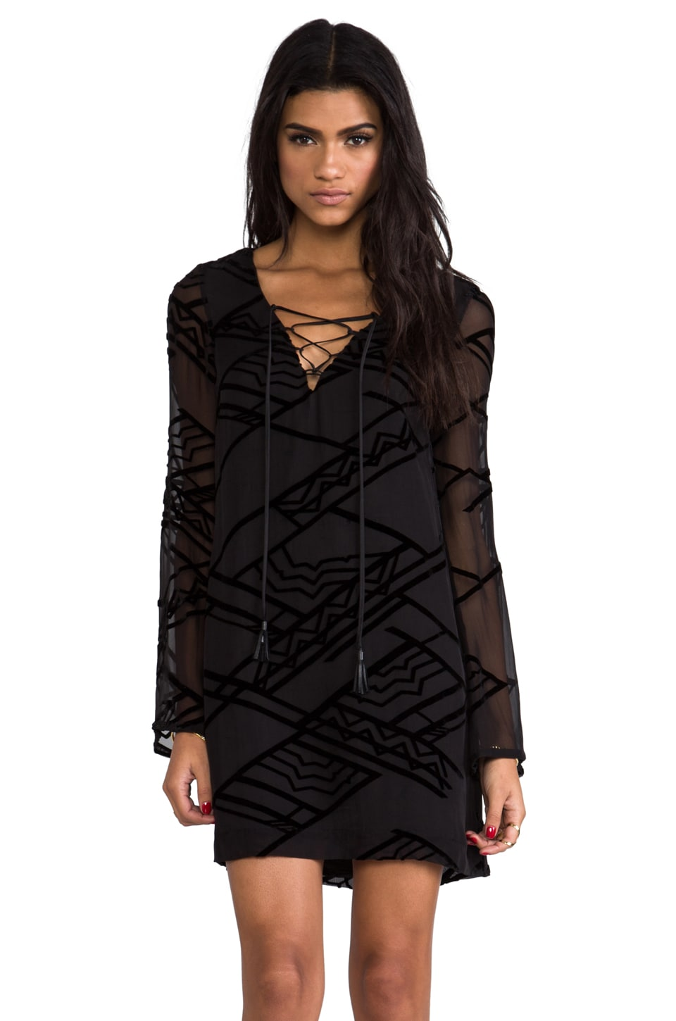 Twelfth Street By Cynthia Vincent Tie Front Shift Dress in Black