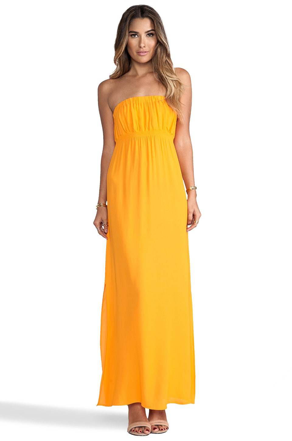 Twelfth Street By Cynthia Vincent Strapless Maxi Dress in Tangerine