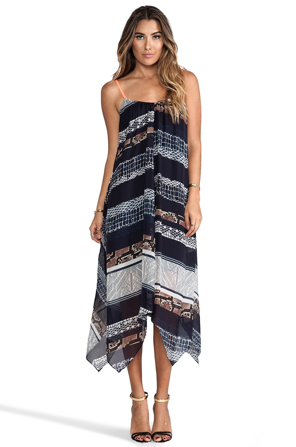 Twelfth Street By Cynthia Vincent Handkerchief Midi Dress in Topanga Canyon