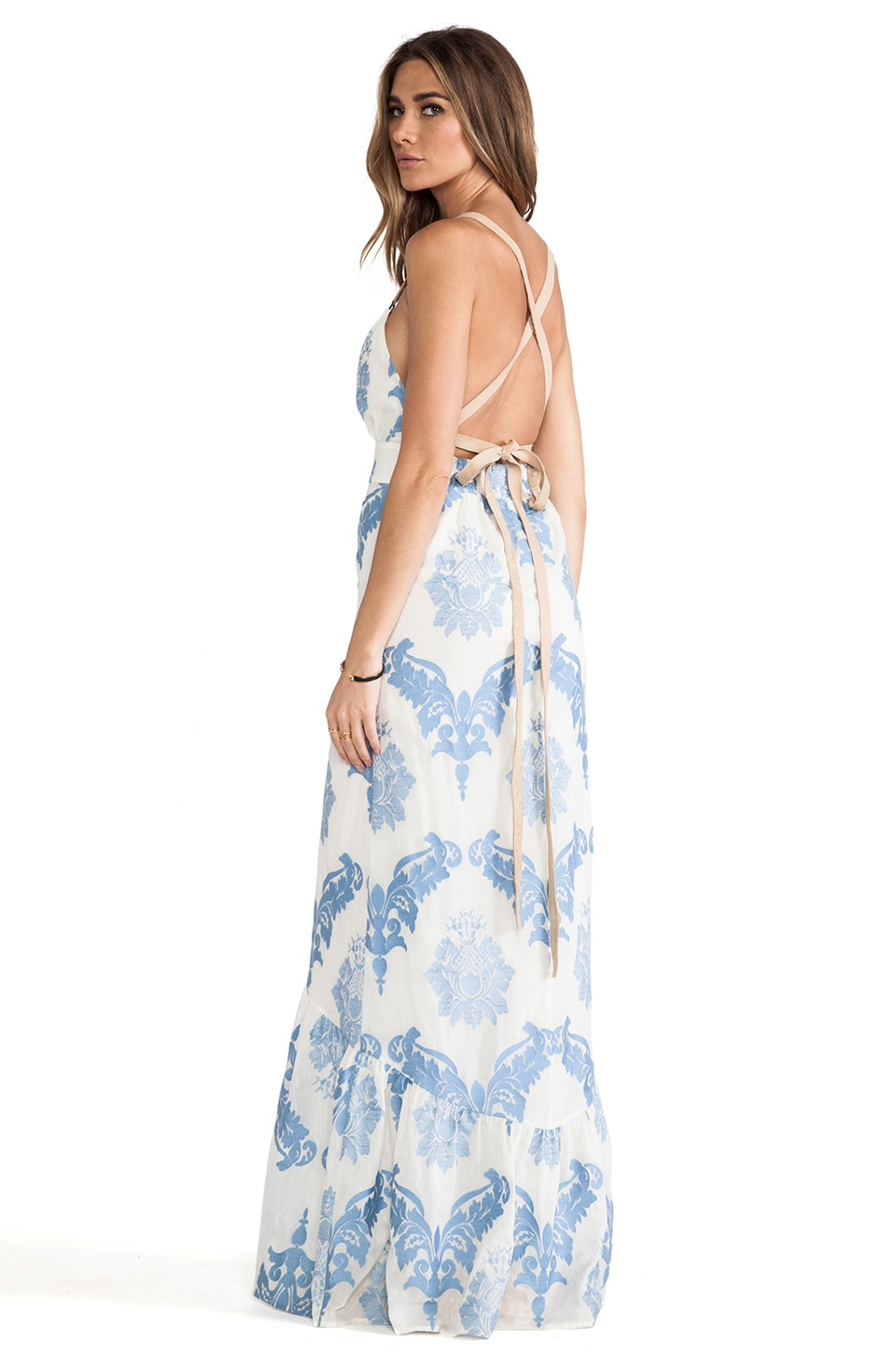Twelfth Street By Cynthia Vincent Leather Strap Maxi Dress in White