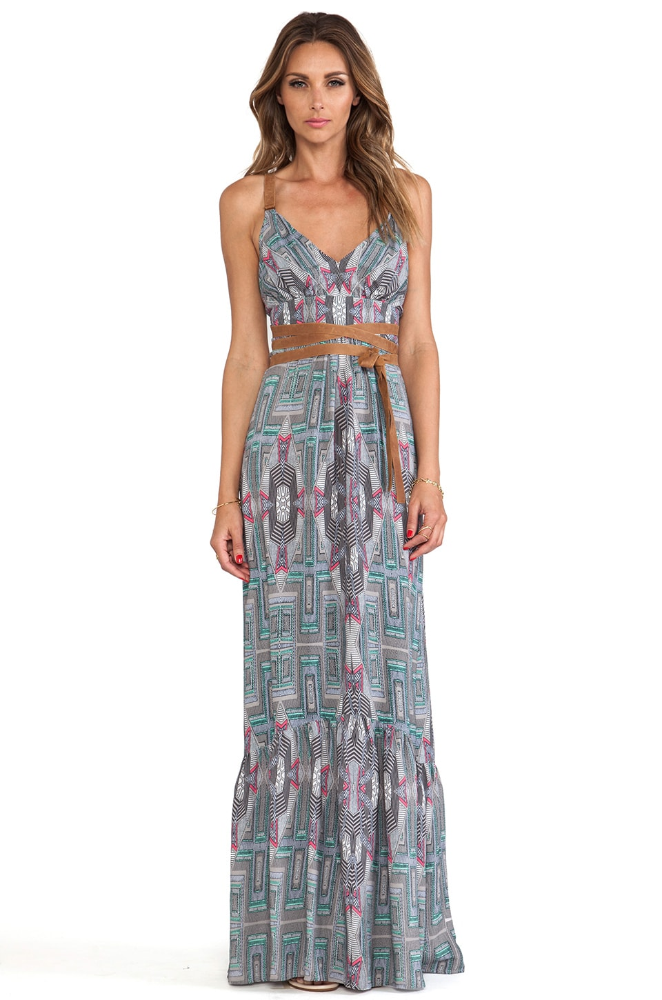 Twelfth Street By Cynthia Vincent Leather Wrap Maxi in Tribal Tweed