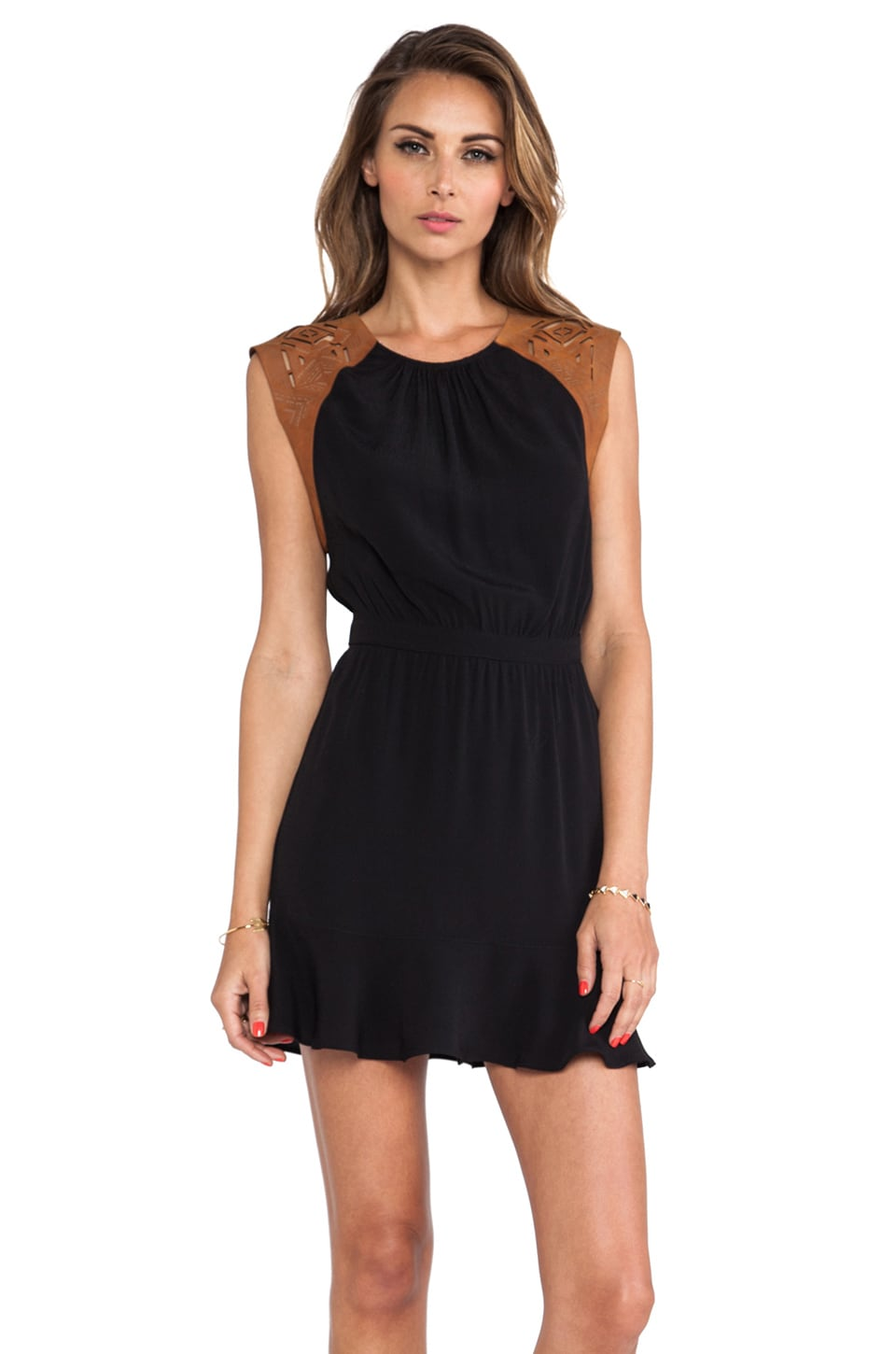 Twelfth Street By Cynthia Vincent Etched Leather Cap Mini Dress in Black