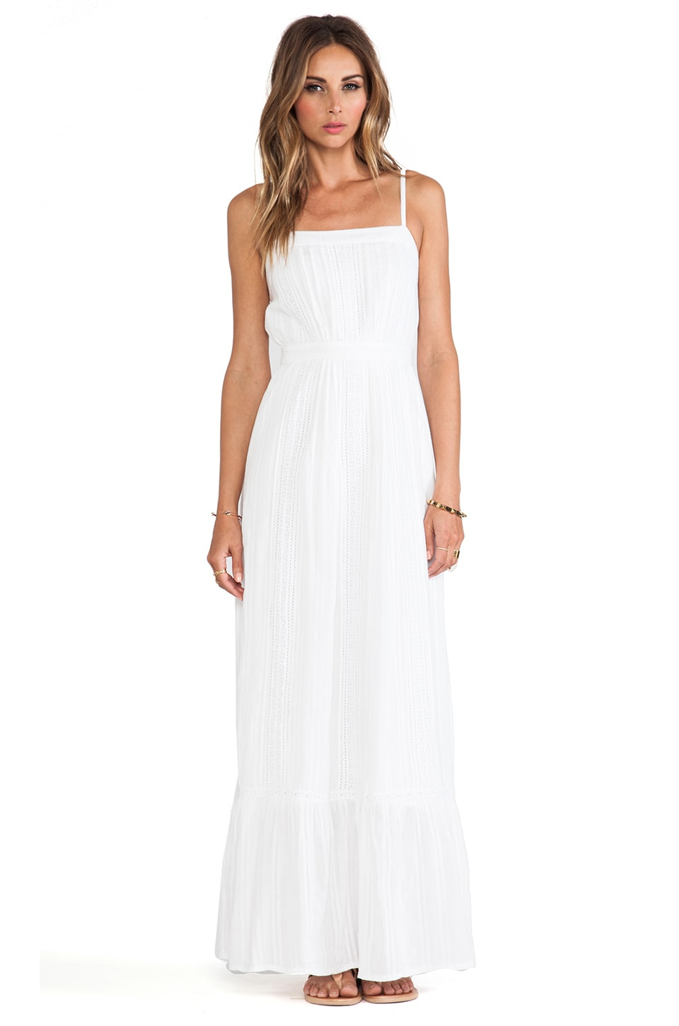 Twelfth Street By Cynthia Vincent Lace Inset Maxi Dress in White