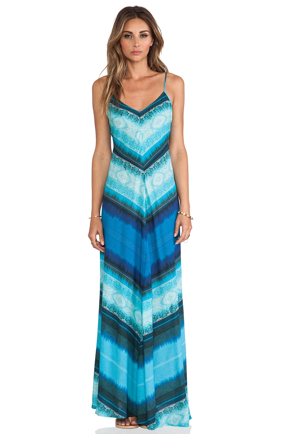 Twelfth Street By Cynthia Vincent Mitered Striped Maxi Dress in Tie Dye Stripe