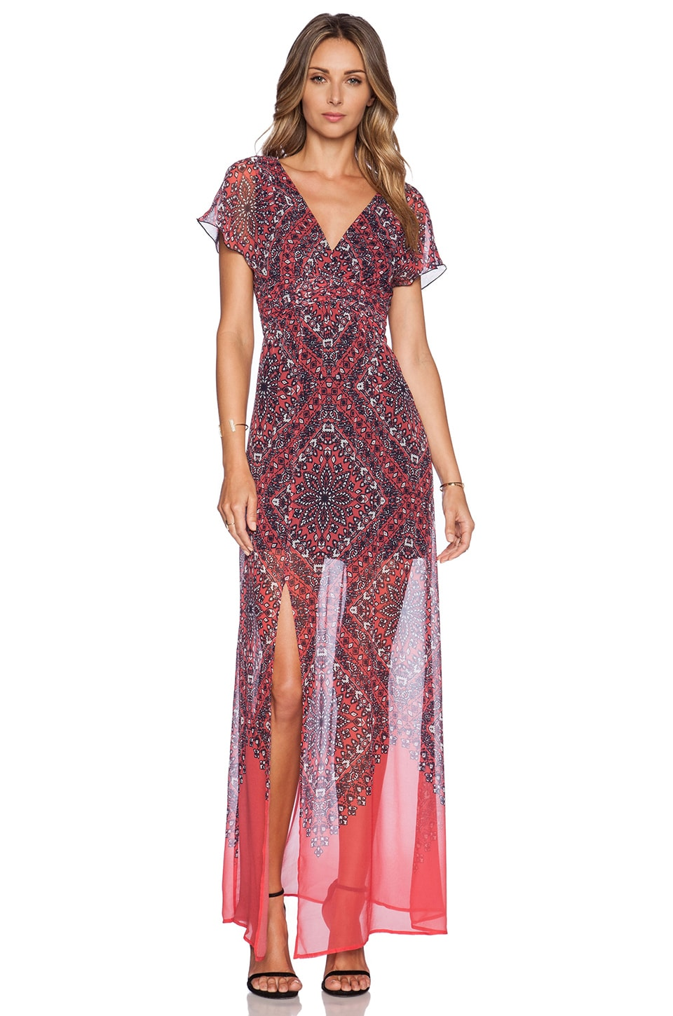 77628f4c2fd3 Twelfth Street By Cynthia Vincent Vintage Maxi Dress in Coral Hankerchief