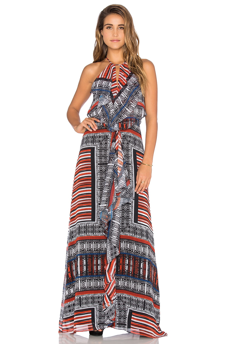 Front Ruffle Maxi Dress by Twelfth Street By Cynthia Vincent