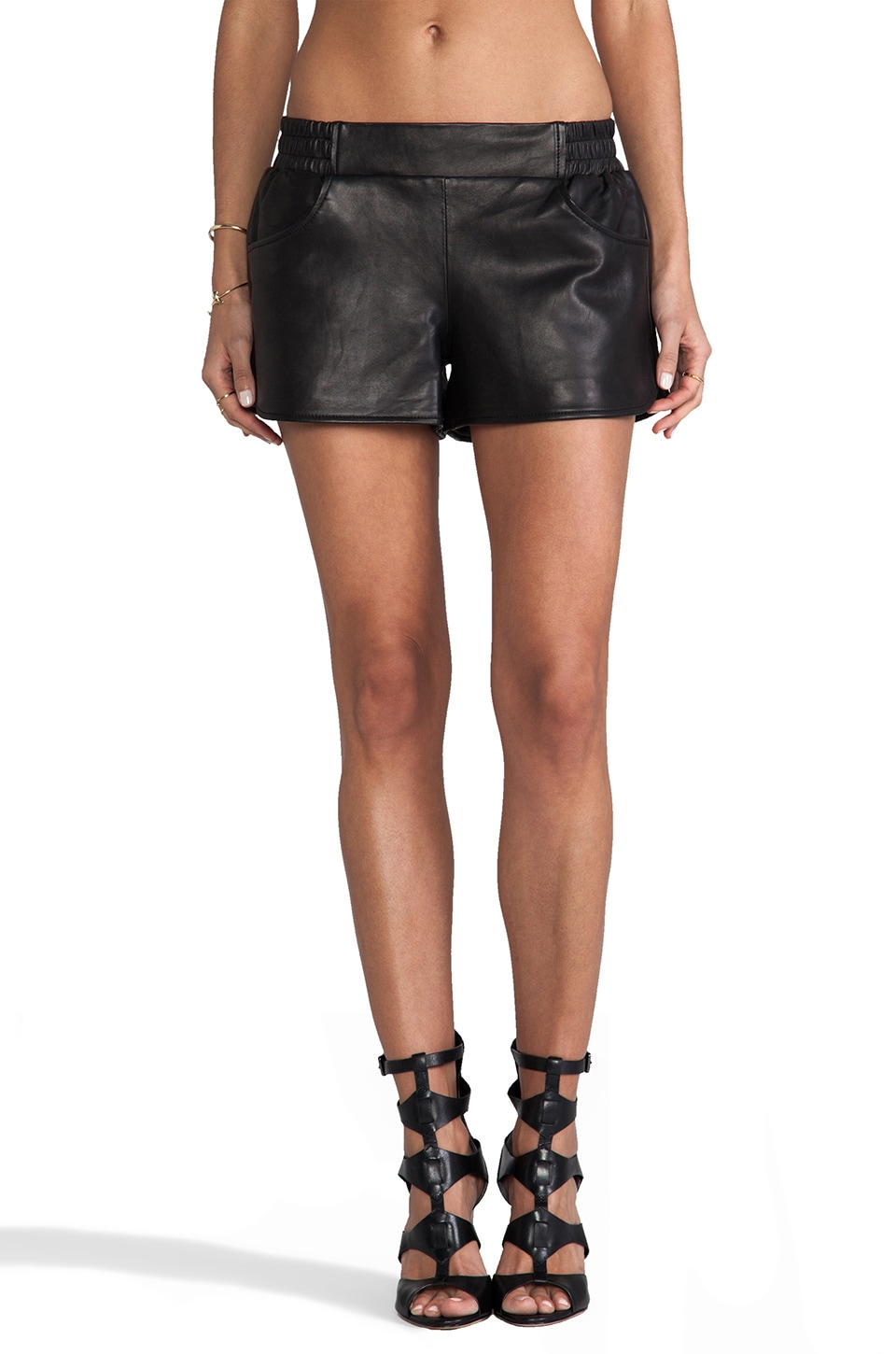 Twelfth Street By Cynthia Vincent Open Air Leather Gym Short In Black