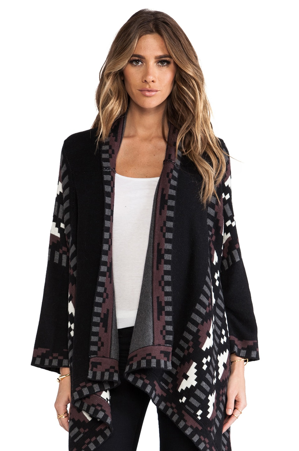 Twelfth Street By Cynthia Vincent Anniversary Blanket Sweater in Black Combo