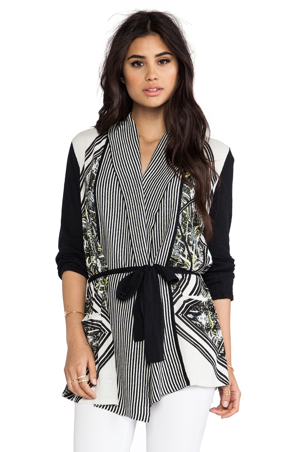 Twelfth Street By Cynthia Vincent Printed Log Cabin Cardigan in Diamond Scarf
