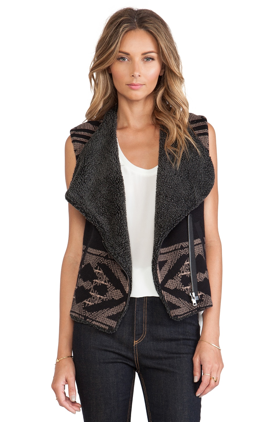 Twelfth Street By Cynthia Vincent Faux Shearling Lined Sweater Vest in Black