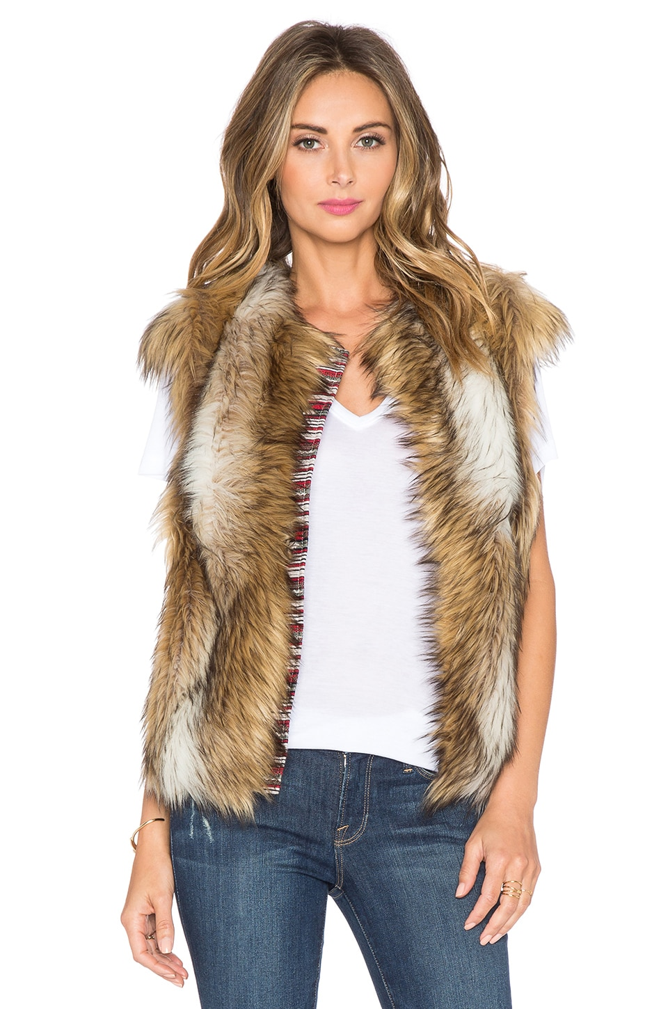 Twelfth Street By Cynthia Vincent Cap Sleeve Faux Fur Vest in Tan