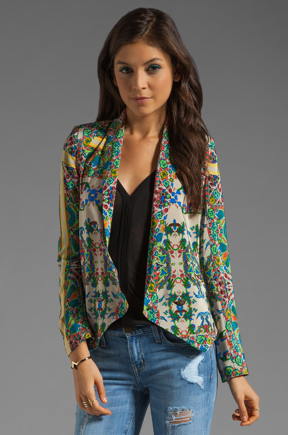 Twelfth Street By Cynthia Vincent Shawl Collar Blazer in New Jacobean