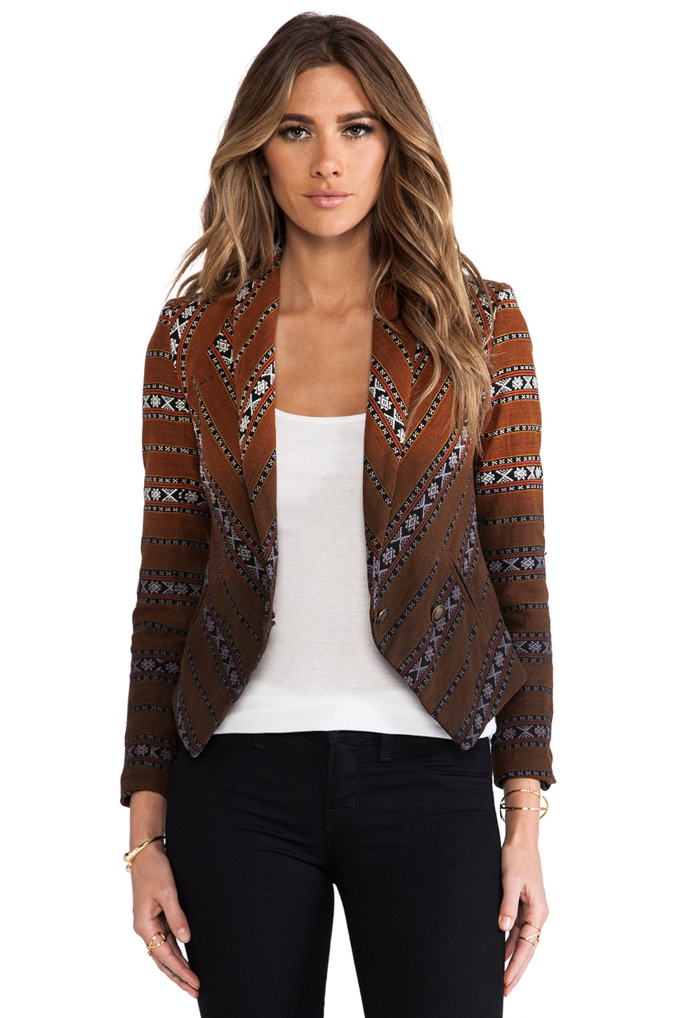 Twelfth Street By Cynthia Vincent Breaux Dip Dye Ikat Blazer in Dip Dye Orange