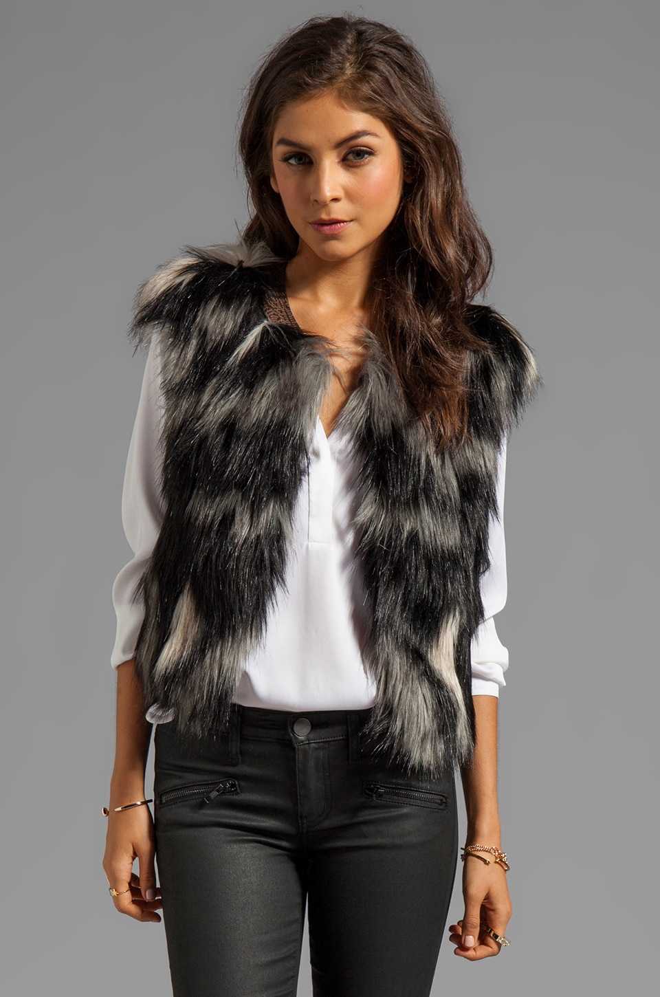 Twelfth Street By Cynthia Vincent Breaux Leather Collar Fur Vest in Blue Multi