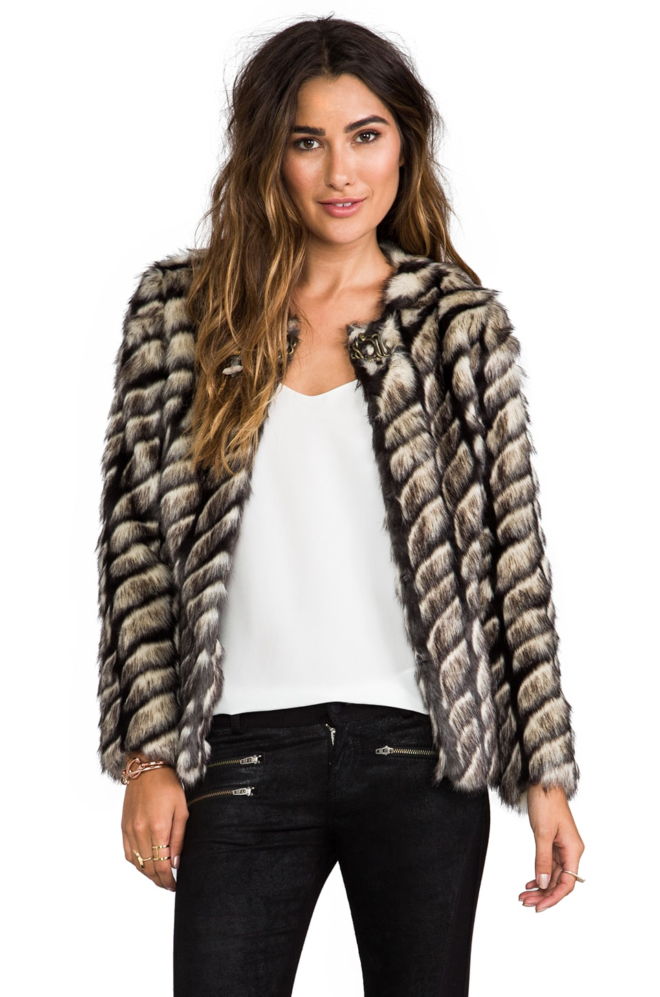 Twelfth Street By Cynthia Vincent Shadows and Light Faux Fur Jacket in Grey