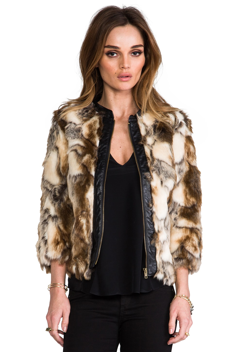 Twelfth Street By Cynthia Vincent Talitha Leather Placket Faux Fur Chubby in Brown