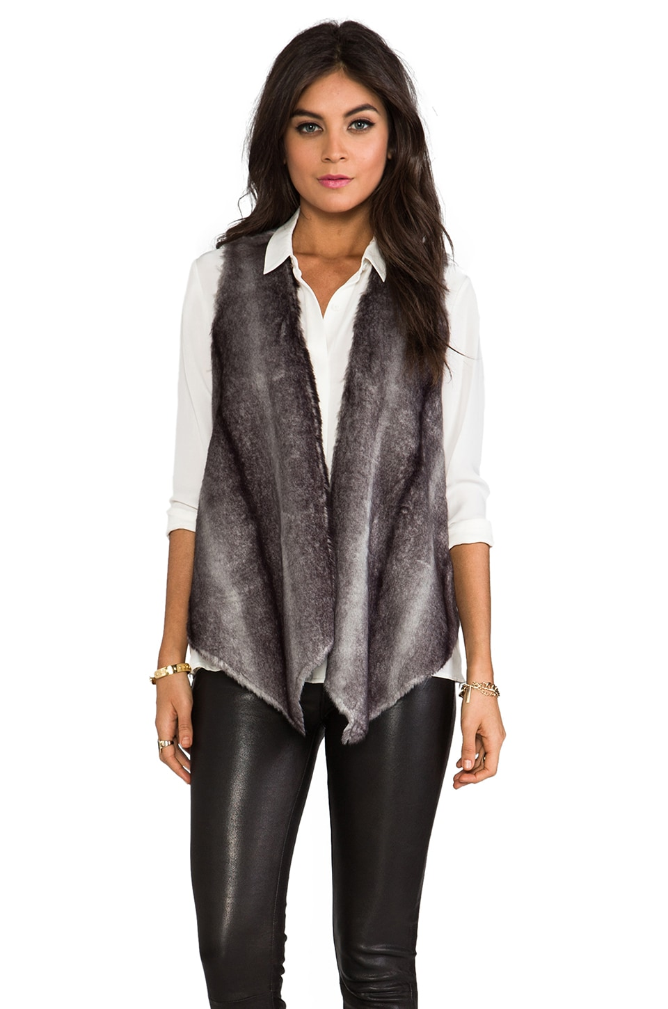 Twelfth Street By Cynthia Vincent Beautiful and Damned Jersey Lined Faux Fur Vest in Grey