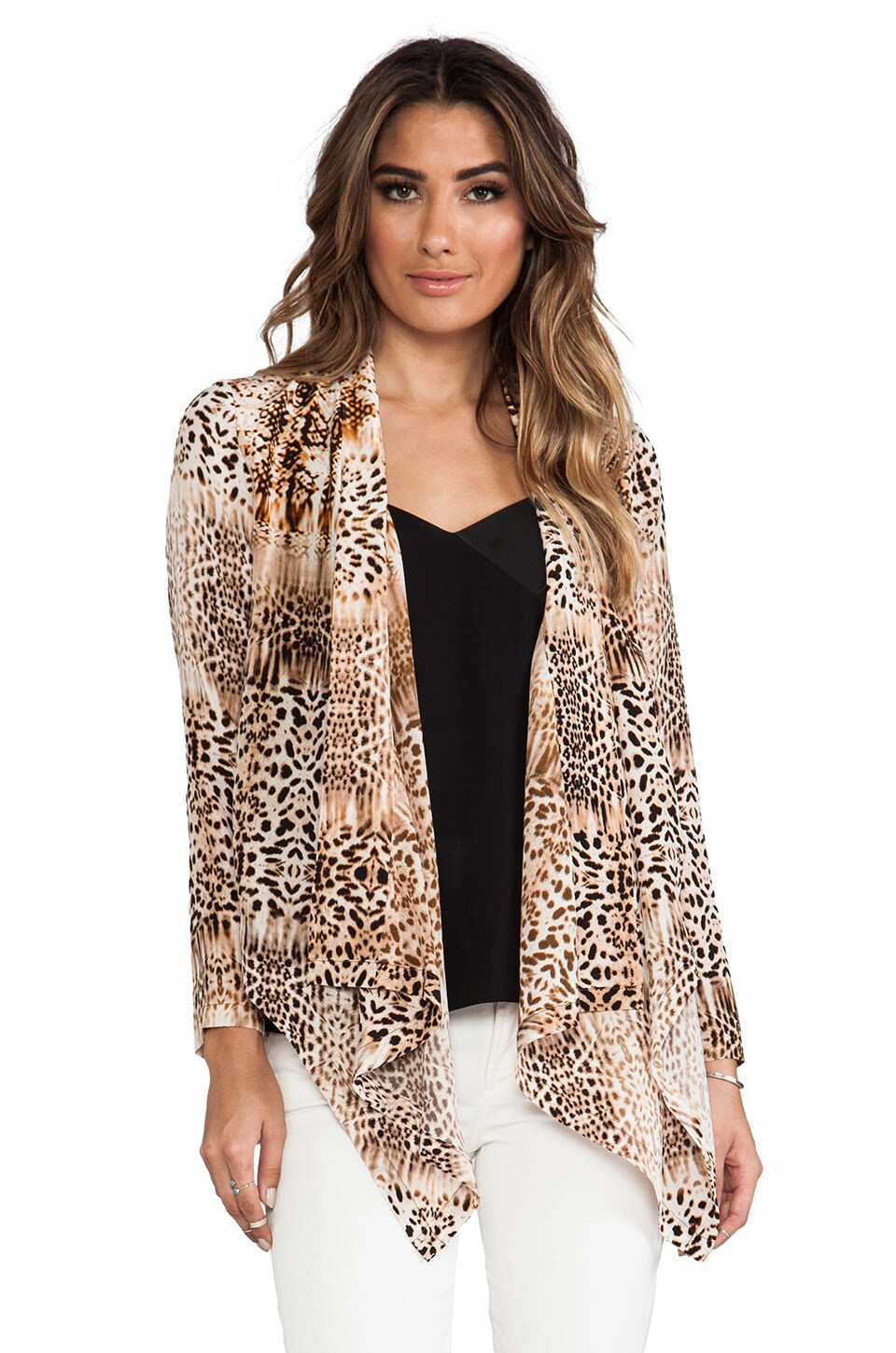 Twelfth Street By Cynthia Vincent Drape Front Jacket in Leopard