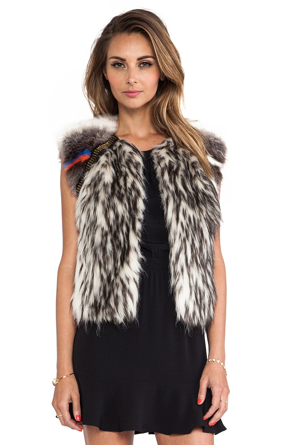 Twelfth Street By Cynthia Vincent Raglan Embellished Faux Fur Vest in Multi