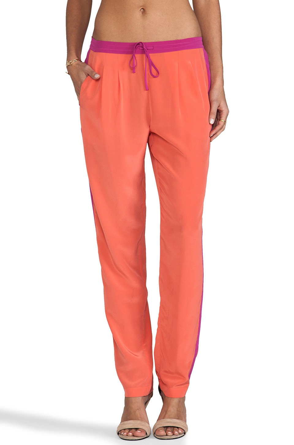 Twelfth Street By Cynthia Vincent Samsa Signature Pant in Passion Orange/Raspberry