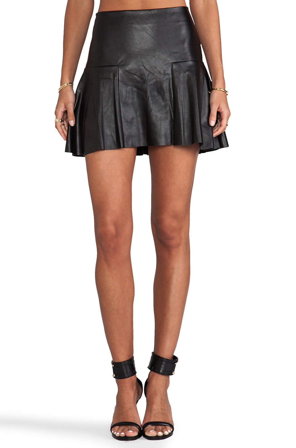 Twelfth Street By Cynthia Vincent Dreja Faux Leather Mini Skirt in Black