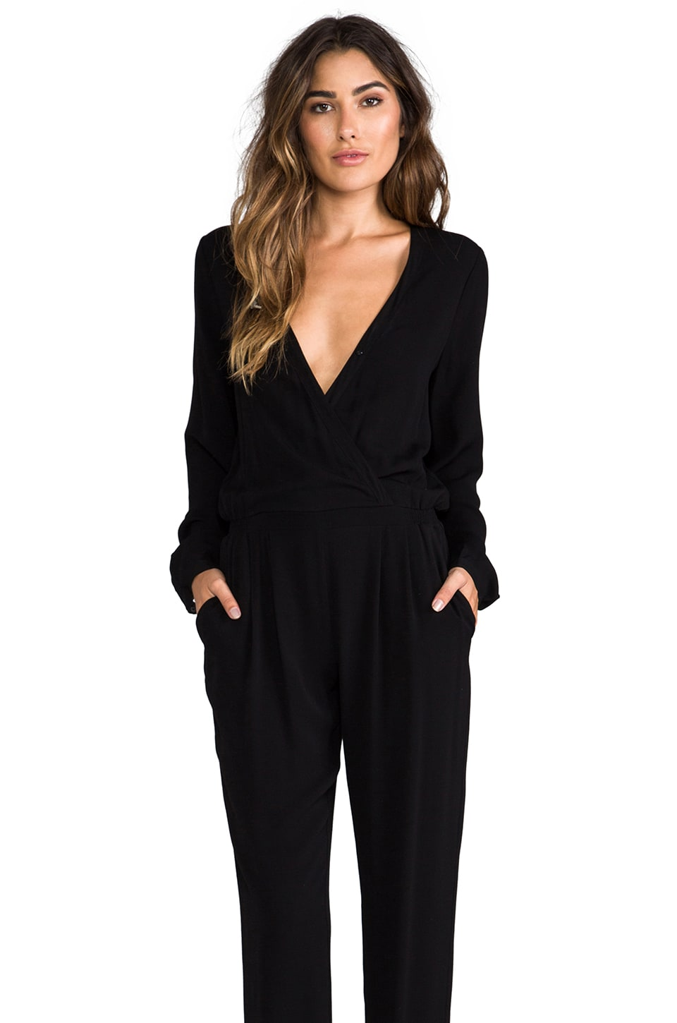 Twelfth Street By Cynthia Vincent Reckless Daughter Long Sleeve Jumpsuit in Black