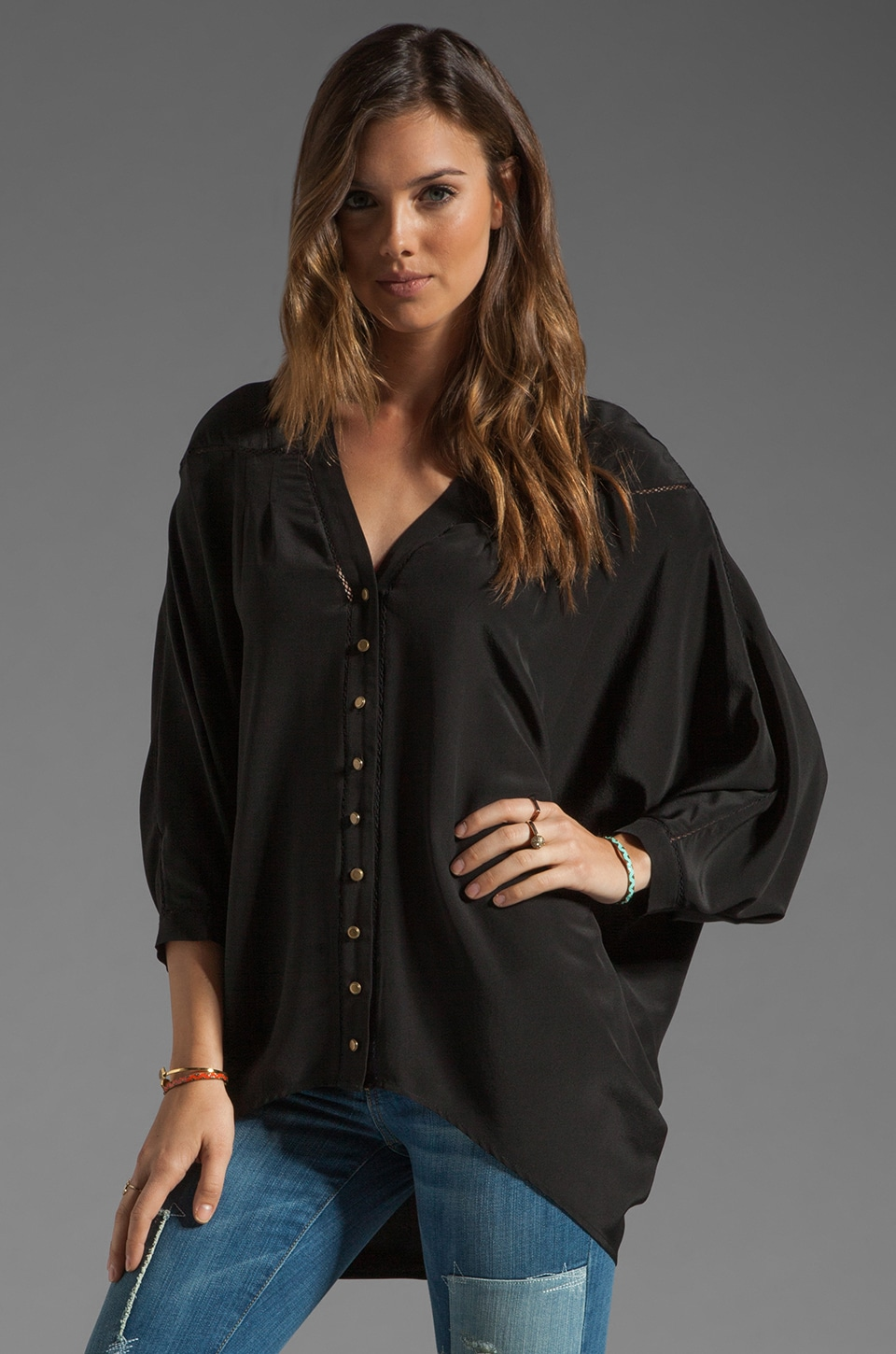 Twelfth Street By Cynthia Vincent High-Low Dolman Blouse in Black