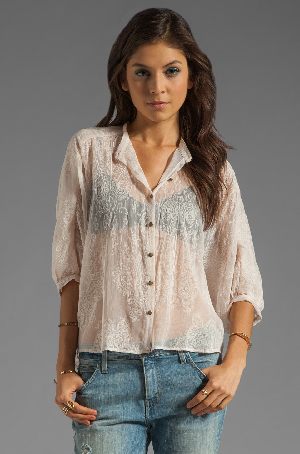 Twelfth Street By Cynthia Vincent Exaggerated High-Low Shirt in Cream