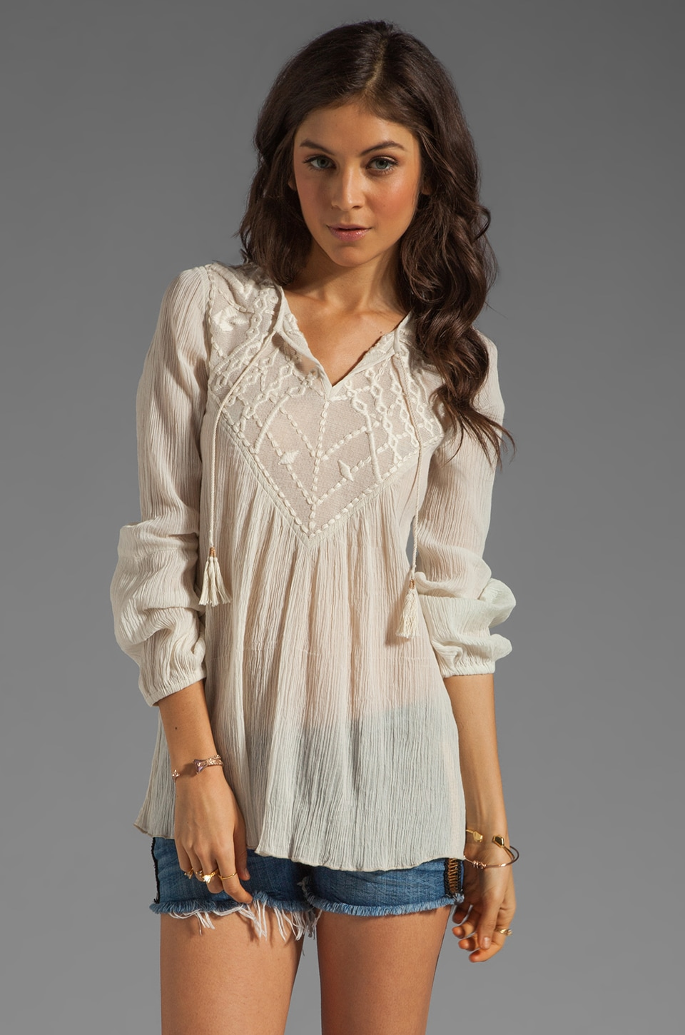 Twelfth Street By Cynthia Vincent Crochet Peasant Top in Bone