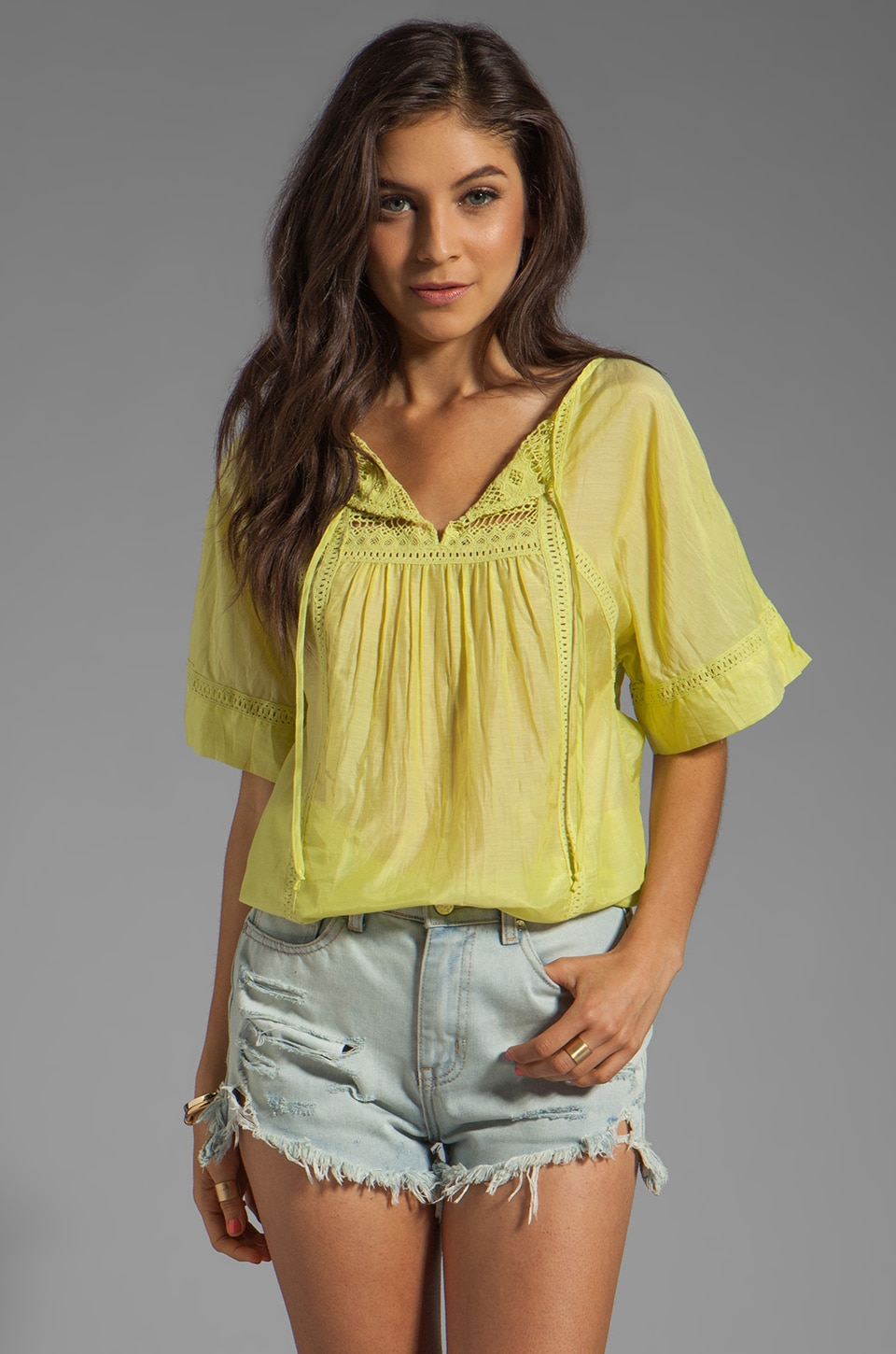 Twelfth Street By Cynthia Vincent Peasant Blouse in Citron