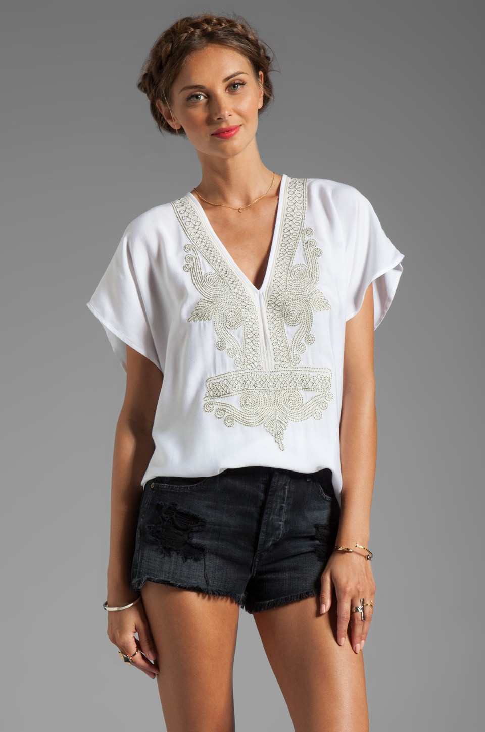 Twelfth Street By Cynthia Vincent Muro Turk Embellished Blouse in White
