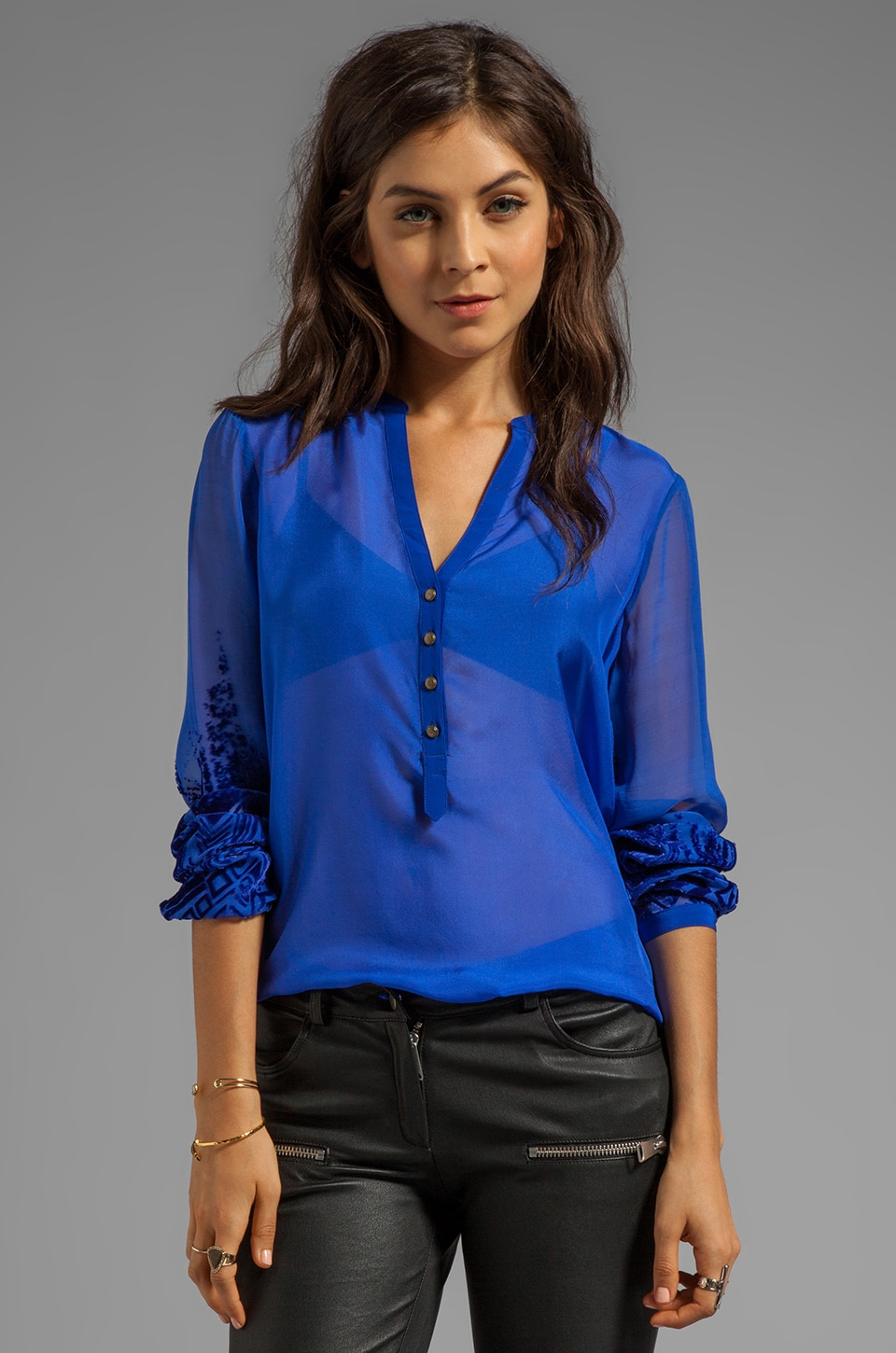 Twelfth Street By Cynthia Vincent Plant Henley Blouse in Cobalt