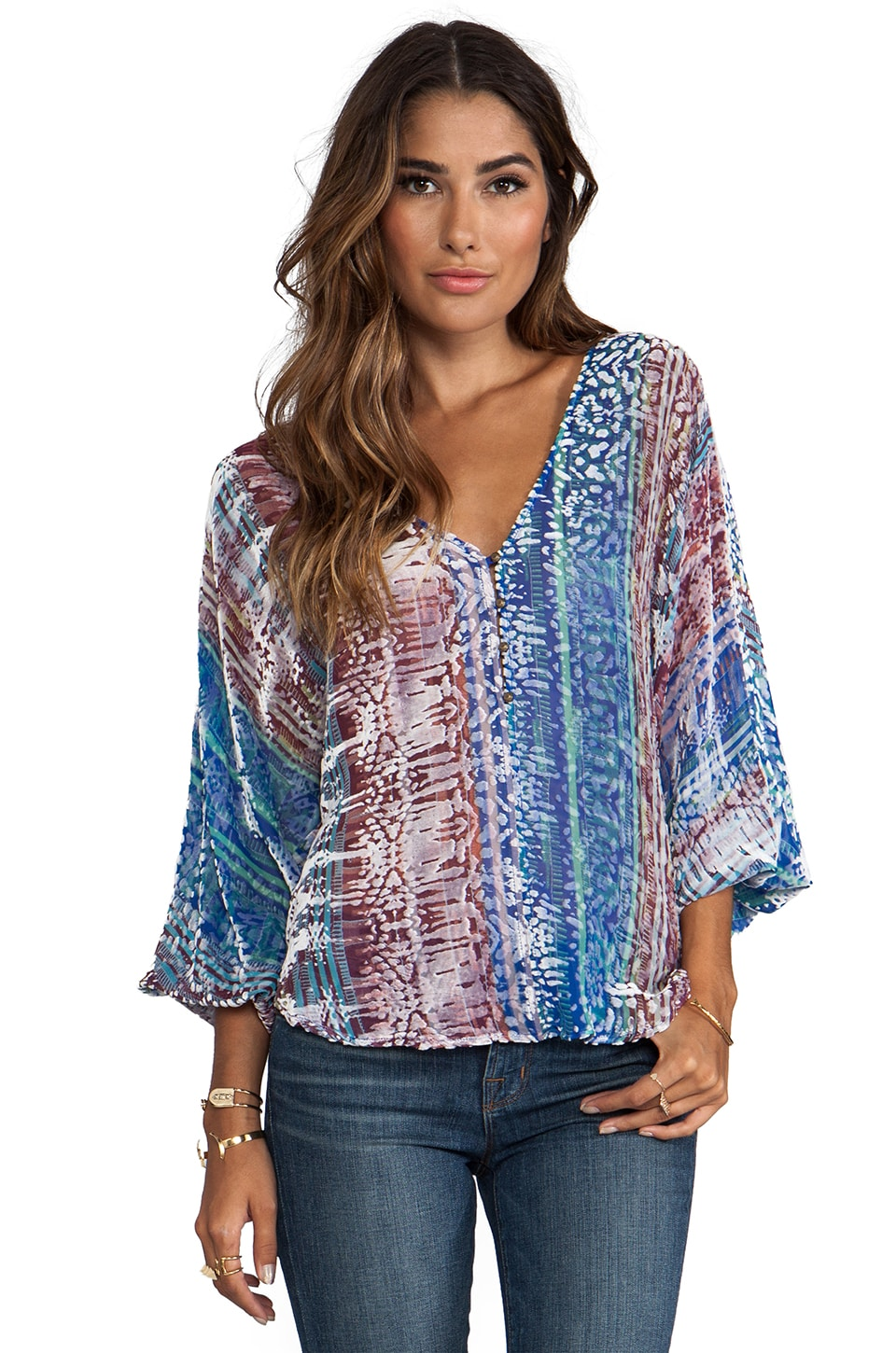 Twelfth Street By Cynthia Vincent Chelsea Morning Dolman Blouse in Ikat Stripe