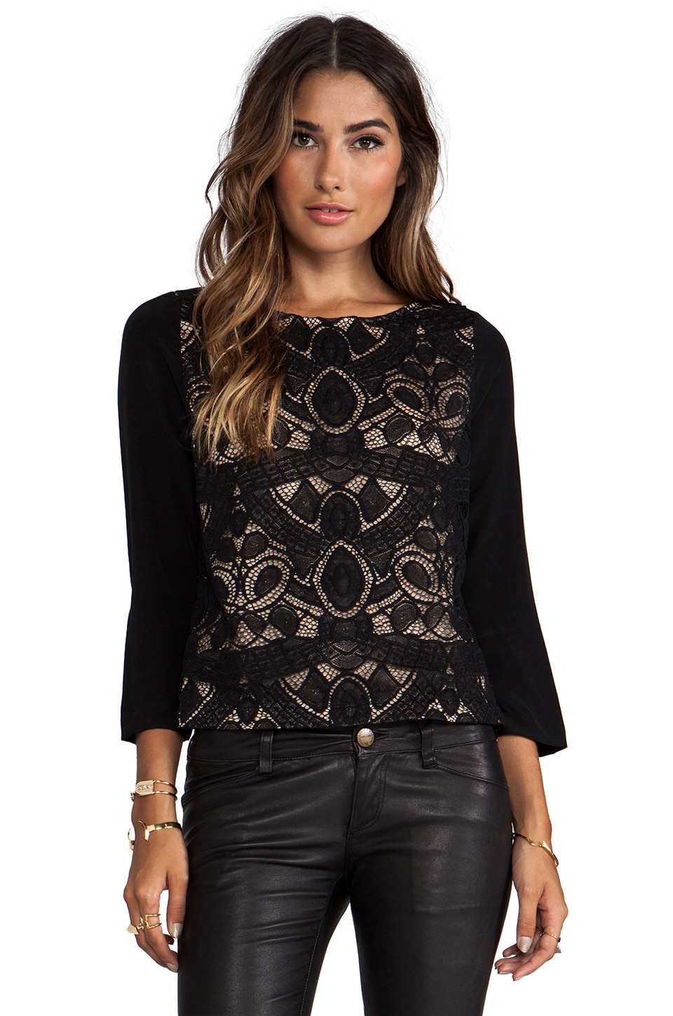 Twelfth Street By Cynthia Vincent Both Sides Now Lace Front Blouse in Black