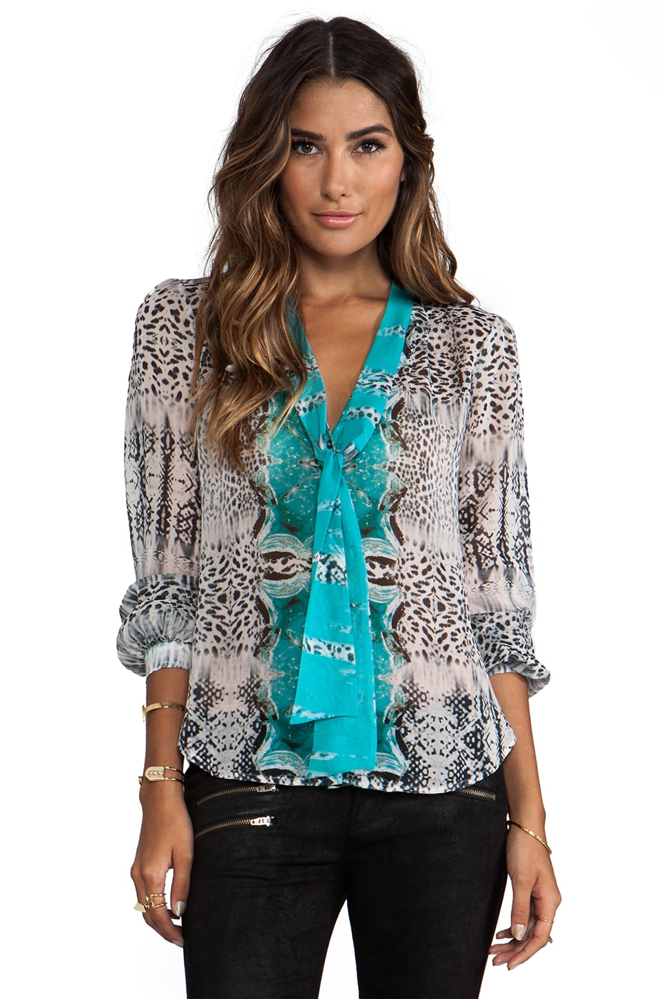 Twelfth Street By Cynthia Vincent Ladies of the Canyon Tie Front Blouse in Geode