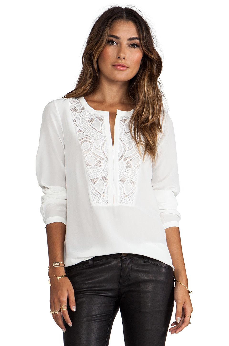 Twelfth Street By Cynthia Vincent Both Sides Now Lace Bib Henley in White