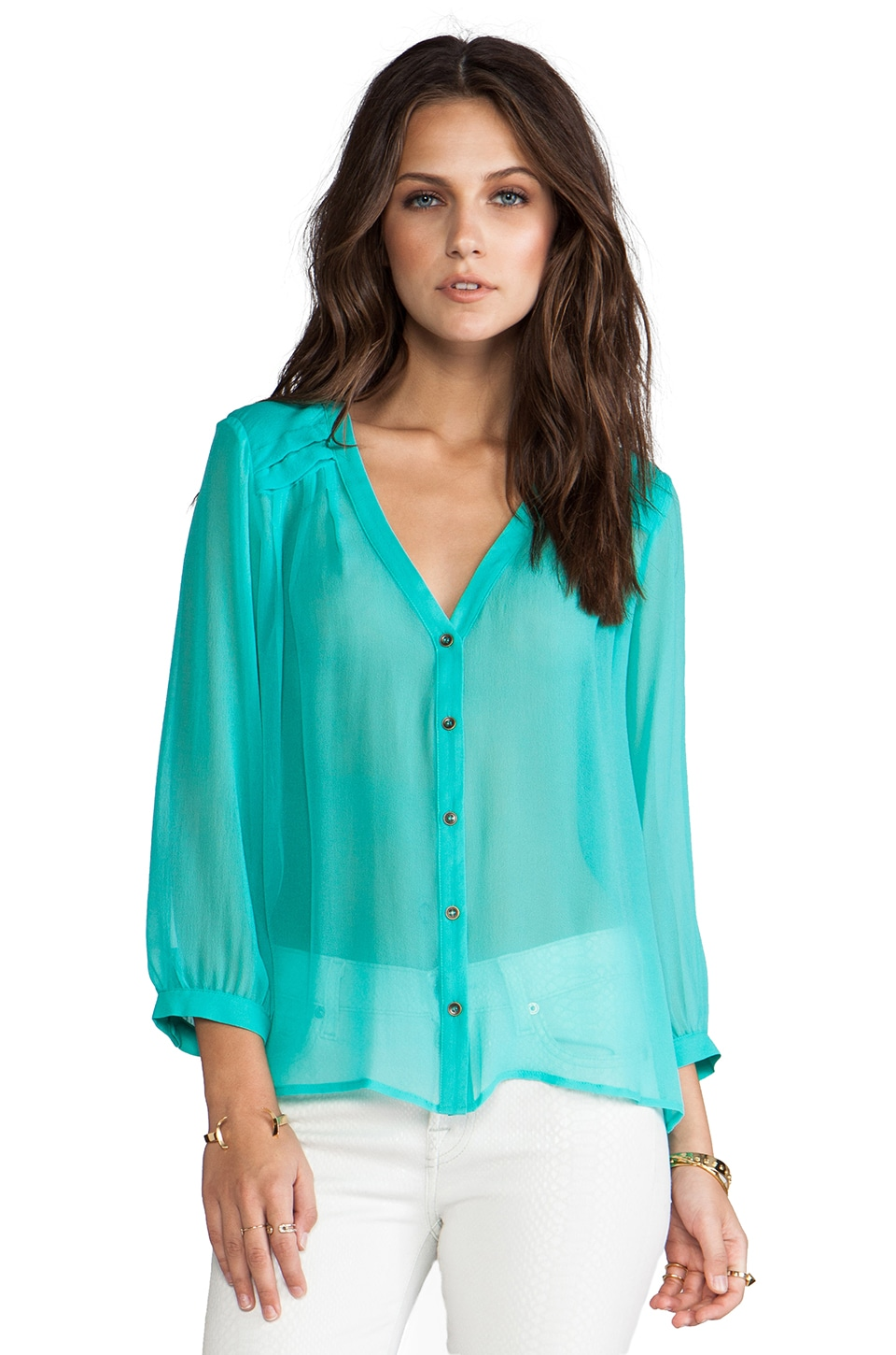 Twelfth Street By Cynthia Vincent Reckless Daughter Pleated Yoke Top in Aqua