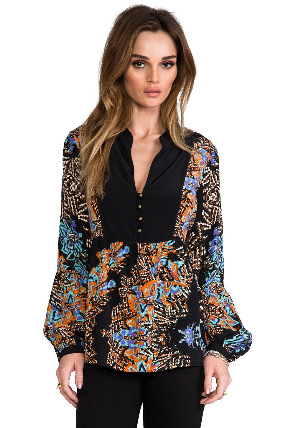 Twelfth Street By Cynthia Vincent The Wild One Bell Sleeve Blouse in Chevy Blossom