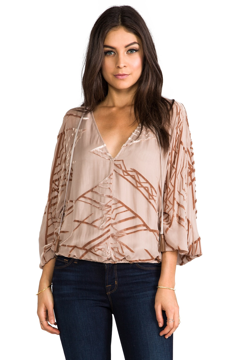 Twelfth Street By Cynthia Vincent Dolman Tie Front Blouse in Champagne