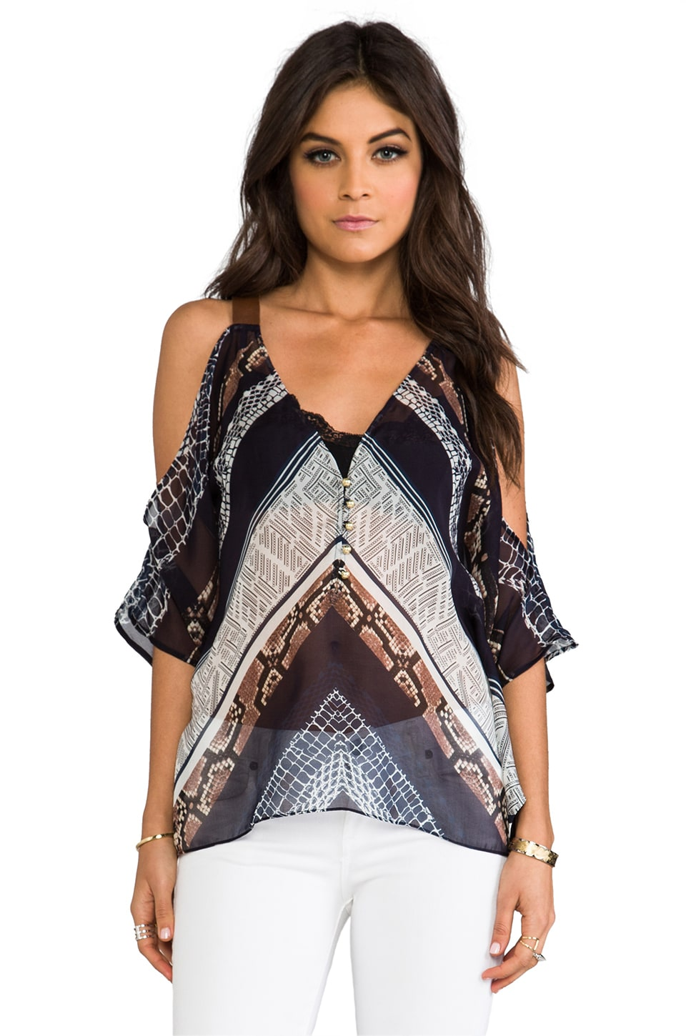 Twelfth Street By Cynthia Vincent Cold Shoulder Blouse in Topanga Canyon